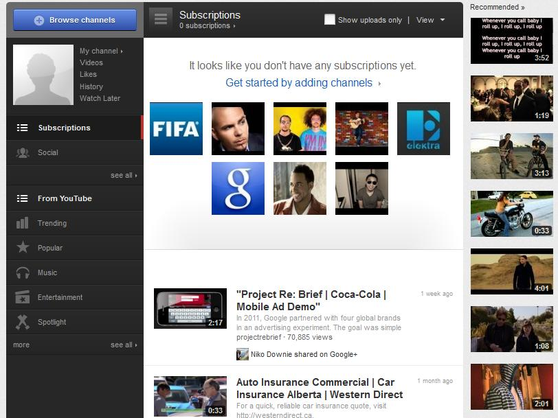 YouTube Layout January 2012